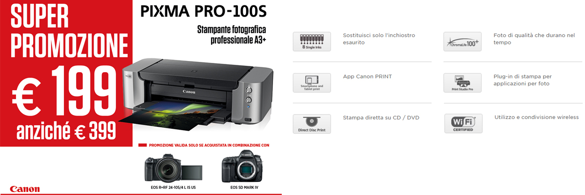 Promozione stampante fotografica A3+ Canon Pixma Pro 100S